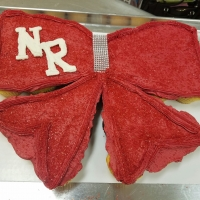 NR Red Bow with Bling Cupcake Cake