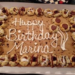 Happy Birthday Marina Chocolate Chip Cookie Cake