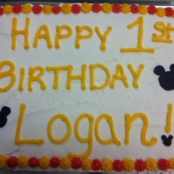 Happy Birthday Logan MIckey Mouse Cupcake Cake