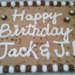 Happy Birthday Jack and JB Chocolate Chip Cookie Cake