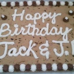 Happy Birthday Jack and JB Chocolate Chip Cookie Cake