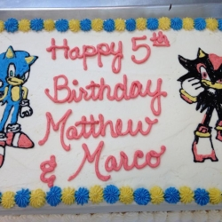 Happy Birthday Matthew and Marco Half Sheet Cake