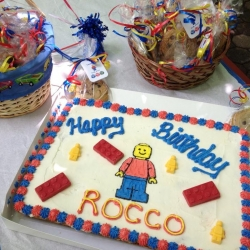 Happy Birthday Rocco Lego Theme Cookie Cake