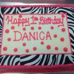 Happy Birthday Danica Zebra Cookie Cake