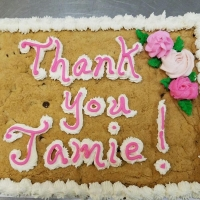 Thank You Jamie Chocolate Chip Cookie Cake
