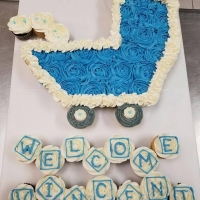 Welcome Vincent Baby Stroller Cupcake Cake