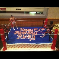 1304 Happy 50th Birthday Ricky Boxing Ring Sheet Cake