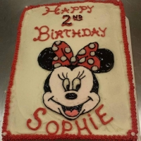 1526 Happy 2nd Birthday Sophie Minnie Mouse Sheet Cake