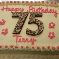 1517 Happy 75th Birthday Terry Sheet Cake