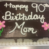 1518 Happy 90th Birthday Mom Sheet Cake
