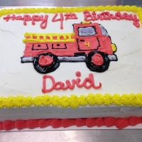1527 Happy 4th Birthday David Firetruck Sheet Cake