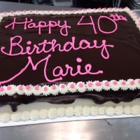 1415 Happy 40th Birthday Marie Chocolate Ganache Cake