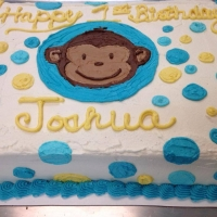 1413 Happy 1st Birthday Joshua Curious George Half Sheet Cake
