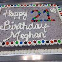 1414 Happy 21st Birthday Meghan M&M Decorated Half Sheet Cake