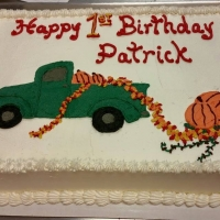 1542 Happy 1st Birthday Patrick Sheet Cake