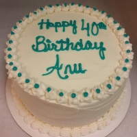 1543 Happy 40th Birthday Anu Round Cake