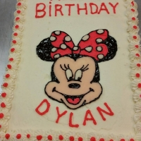 1545 Happy Birthday Dylan Minnie Mouse Sheet Cake