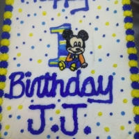 1306 Happy Birthday Cake JJ Baby Mickey Mouse Sheet Cake