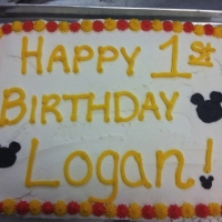 1303 Happy 1st Birthday Logan Mickey Mouse Sheet Cake