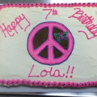 1305 Happy 7th Birthday Lola Sheet Cake Peace Symbol