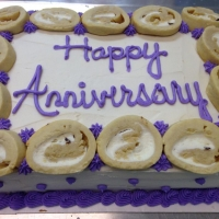 1418 Happy Anniversary Cannoli Decorated Quarter Sheet Cake