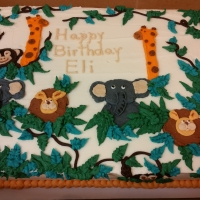 16080 Happy Birthday Eli Jungle Theme Sheet Cake
