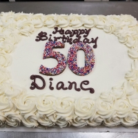 16070 Happy 50th Birthday Diane Rosette Sheet Cake Chocolate Numbers