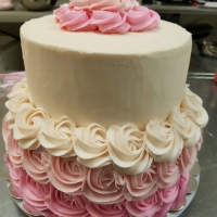 16059 2 Layer Round Cake with White and Pink Roses