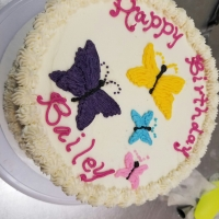 16074 Happy Birthday Bailey Butterfly Theme Round Cake