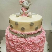16099 Baby Girl Elephant Two Layer Round Cake
