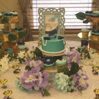 16019 Purple and Blue Cake with Matching Favors