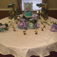 16020 Purple and Blue Cake with Matching Favors