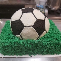 16055 Soccer Ball on Grass Cake