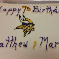16026 Happy 7th Birthday Matthew & Marco Minnesota Vikings Sheet Cake