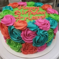 16029 Happy Birthday Arlene Multi Color Roses Round Cake