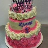 16013 Happy 1st Birthday Leanne Princess 3 Layer Round Cake
