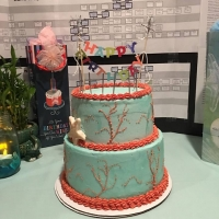 16033 Happy Birthday Seashore Theme Round Cake 2 Layers