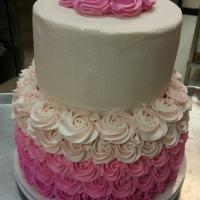 16018 Pink Roses 2 Layer Round Cake