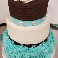 16022 Chocolate Vanilla Aqua 3 Layer Round Cake 2