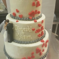 16064 3 Tier Wedding Cake Climbing Hearts and Love View 2