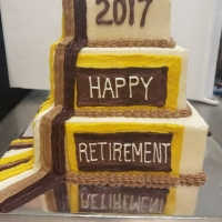 17042 2017 Happy Retirement View 1 Three Layer Cake