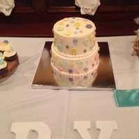 17002 Cute As A Button Baby Shower 2 Layer Round Cake