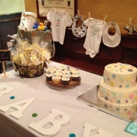 17003 Cute As A Button Theme Baby Shower Cake Cupcakes and Favors