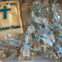 17028 God Bless Matthew & Marco White and Blue Cross Cake and Favors