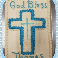 17015 God Bless Thomas Baptism Communion Sheet Cake