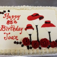 17031 Happy 85th Birthday Joan Red Hat Sheet Cake