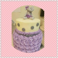 17036 Purple and Gray Elephant 2 Tier Round Cake