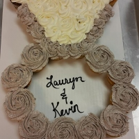 17003 Lauren and Kevin Engagement Ring Cupcake Cake