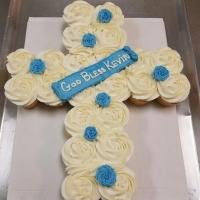 God Bless Kevin Cross Cupcake Cake