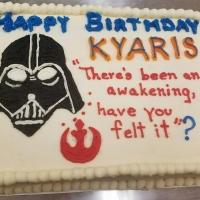 Happy Birthday Kyaris Star Wars Sheet Cake